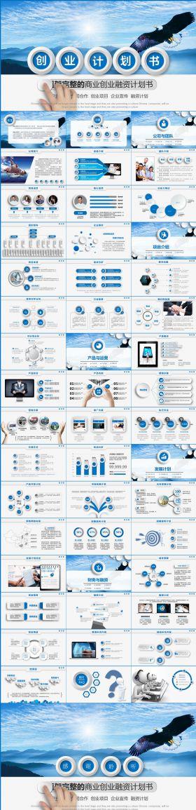 蓝色创业融资计划书PPT模板