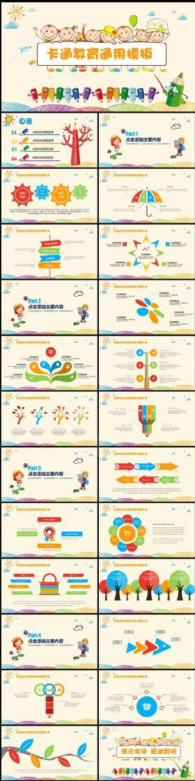 可爱卡通儿童清新风格PPT课件模板