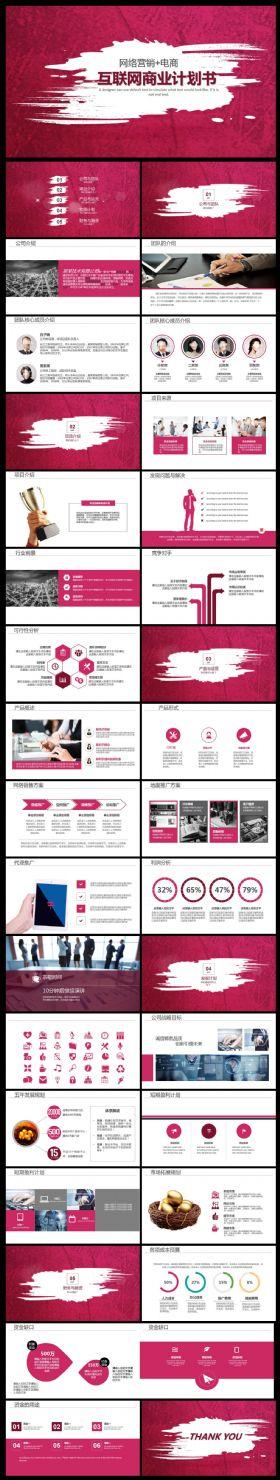 大气互联网家创业计划书ppt模板