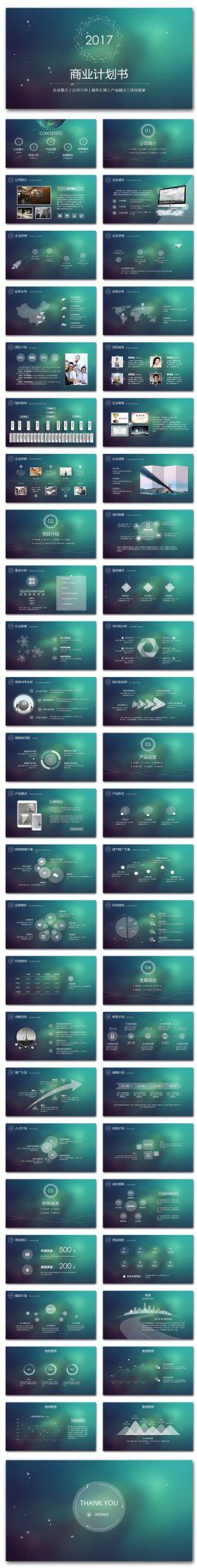 大气星空创业融资商业计划书ppt模板