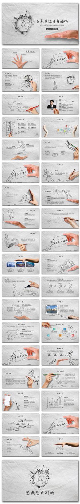 黑白创意手绘企业宣传商业计划通用模板