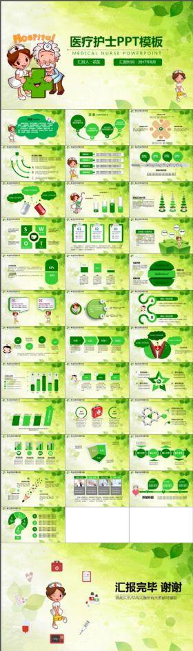 简约简洁医院医生护士护理ppt绿色模板