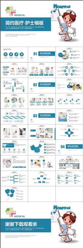 蓝色大气简约简洁时尚医疗护士ppt动态模板