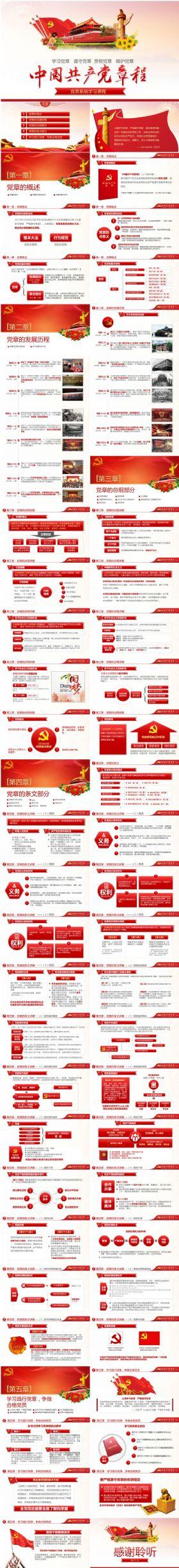 2017中国共产党章程两学一做党章学习党支部党课培训课件PPT